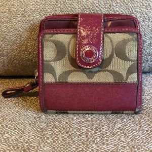 Burgundy and classic print Coach wallet